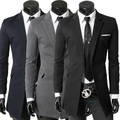 Luxury Long Blazer Slim Men 2017 Casual Slim Stylish Fit Two Button Suit Blazer Coat Jackets For Party ToP Quality FREE SHIPPING