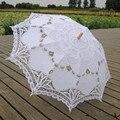 Branco Marfim vestido de Noiva Bordado Guarda-chuva Battenburg Rendas Guarda-chuva Preto Foto Adereços Guarda-chuva Decorações de Casamento Presentes de Casamento
