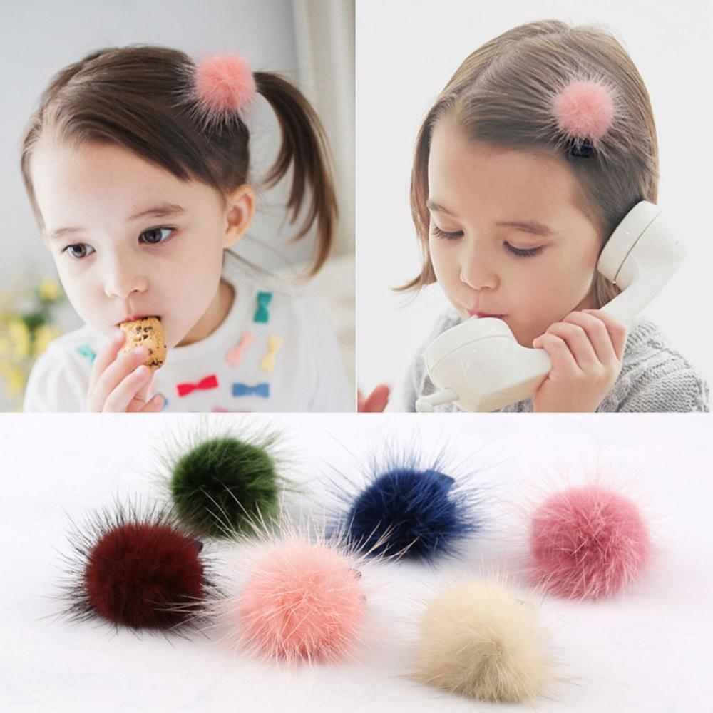 Menina 1 par moda meninas mulheres vison pele pompons bola barrettes headwear para chilren grampo de cabelo acessórios para o cabelo