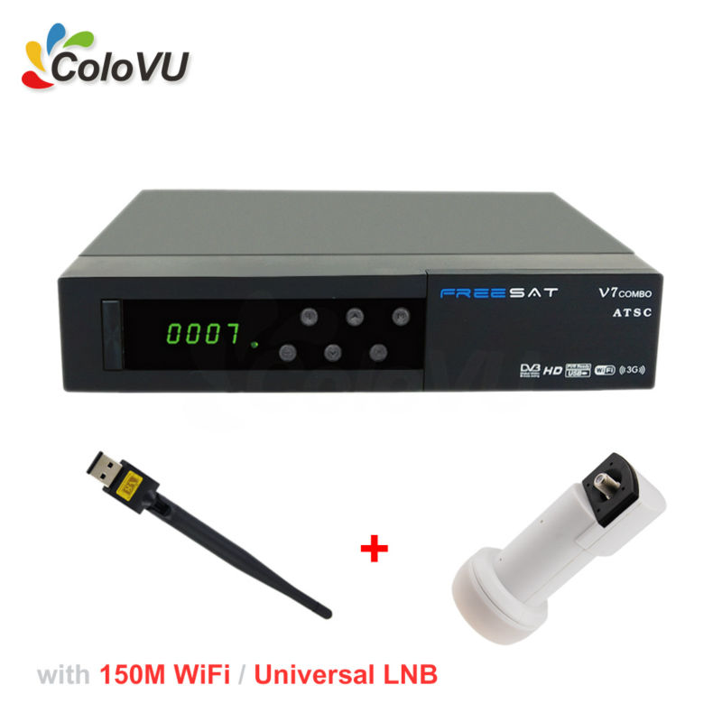 Satellite TV Receiver Freesat V7 ATSC/S2 Combo + USB WiFi + Universal Ku LNB support IPTV PowerVU Biss cccam for North America best v8 golden receptor satellite dvb t2 s2 c satellite receiver 1 year europe cccam cline support powervu biss key via usb wifi