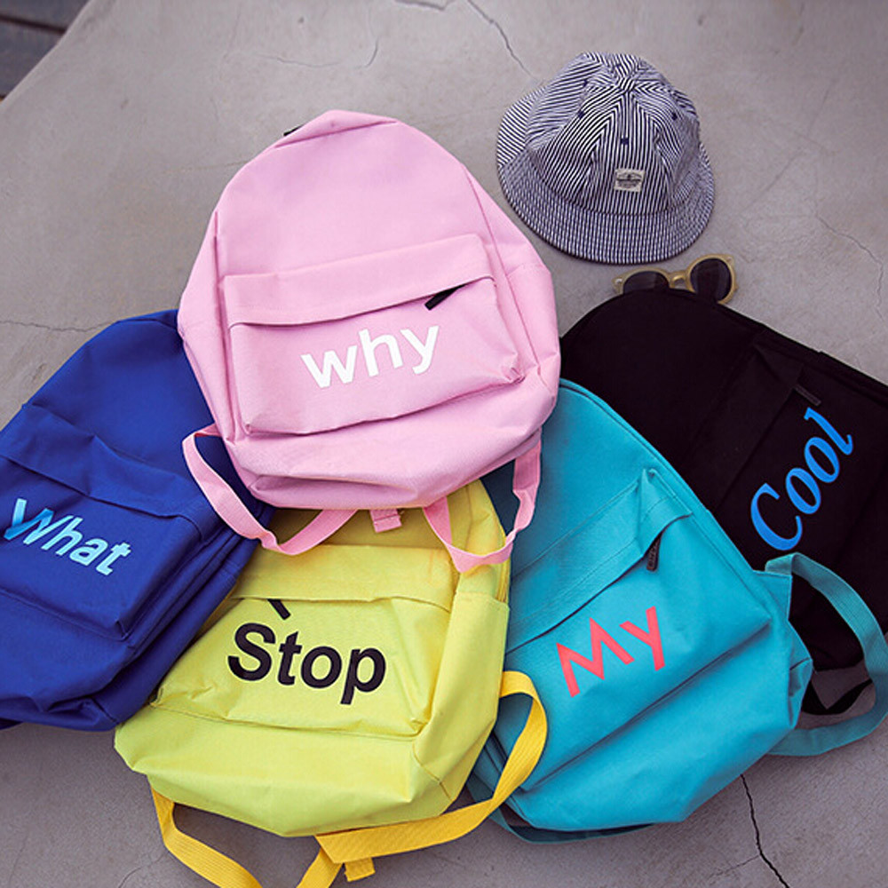 Aelicy canvas letter travel backpack women backpack 2017 fashion korean zipper canvas backpack schoolbag for girls rucksack