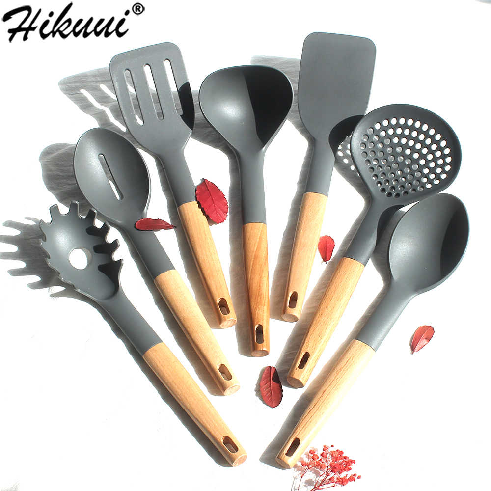 5pcs set Kitchen Nylon Cooking Tools Utensil Set Cookware Soup Spoon Turner  Ladle Pasta Spoon Heat-Resistant Non-Stick Utensils