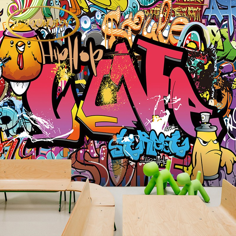 Custom 3D photo wallpaper graffiti wallpaper brick wall style wallpaper mural Street art yoga dance room mural papel de parede custom papel de parede infantil see graffiti mural for sitting room sofa bedroom tv wall waterproof vinyl which wallpaper