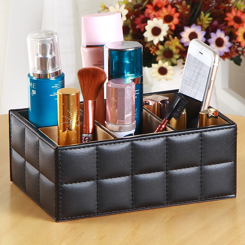 APS PU Leather Cosmetic Organizer Makeup Storage Box Remote Control Phone Holder Table Organizer Home Office Storage Case