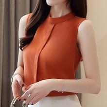 Korean Fashion Chiffon Women Blouses Sleeveless White Women Shirts Plus Size Ladies Tops Blusas Femininas Elegante женская футболка other t tshirt 2015 blusas femininas women tops 1