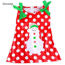 Niosung Kids Girl Christmas Style cotton Dress With Sleeveless Bow Snowman Dot Princess Dress Baby Christmas Party Costume