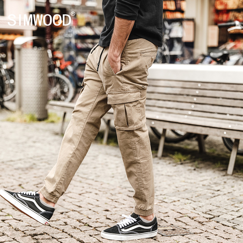 simwood 2018 spring new cargo pants men military jogger