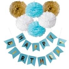 Birthday Decor Tissue Paper Tassels / Pompoms / Happy Birthday Banner