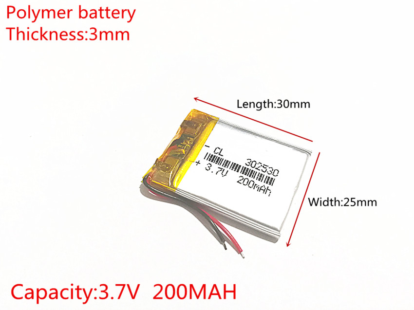 3.7V 200mAh <font><b>302530</b></font> Lithium Polymer Li-Po li ion Rechargeable Battery cells For Mp3 MP4 MP5 GPS PSP image