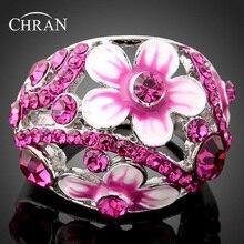 Chran Fashion Enamel Pink Flower Rings for Women Elegant Silver Plated Crystal Wedding Accessories