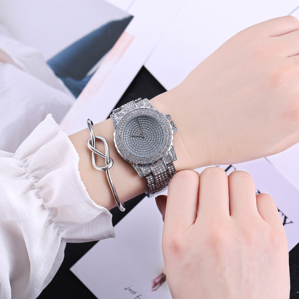 2018 Best Selling Watch Fashion Women Watches Luxury Crystal Rhinestone Stainless Steel Quartz WristWatches relogio girls 8O23