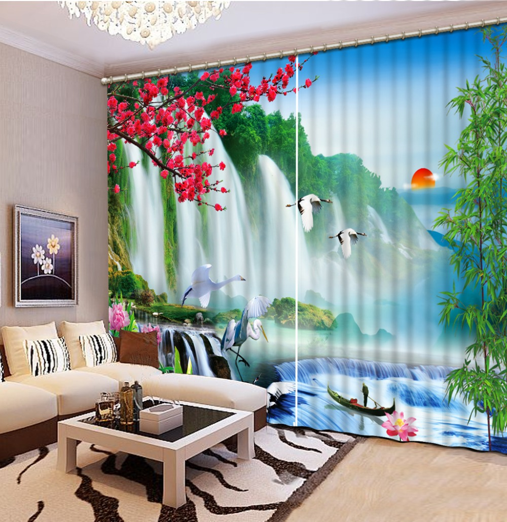3D Curtain Blackout Shade Window Curtains Sunrise Waterfall Scenery Bed room Living room Office Hotel Cortinas 3D Curtains in Curtains from Home Garden