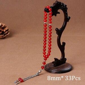 Image 4 - 8mm Natural Stone Black Agates Bead Tassel Pendant 33 Prayer Beads Islamic Muslim Tasbih Allah Mohammed Rosary For Women Men