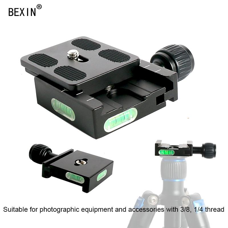 QR50 Adapterplatte Vierkantklemme mit Wasserwaage für Gradienter Kamera Schnellwechsel-Stativadapter für Arca Stativ-Kugelkopf
