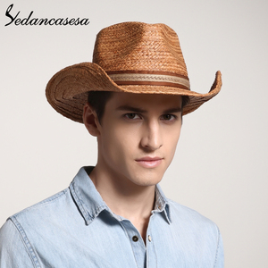 Image 2 - הגנת UV קיץ שמש כובעי לגבר נשים בעבודת יד רפיה קש טרילבי שווי חוף חג מגניב WGB0500005