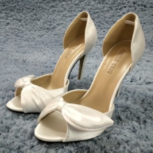 Women Stiletto Thin High Heel Sandals Sexy Peep Toe Ivory Satin Bowing Wedding Party Bridals Ball Lady Shoes 0640C-L