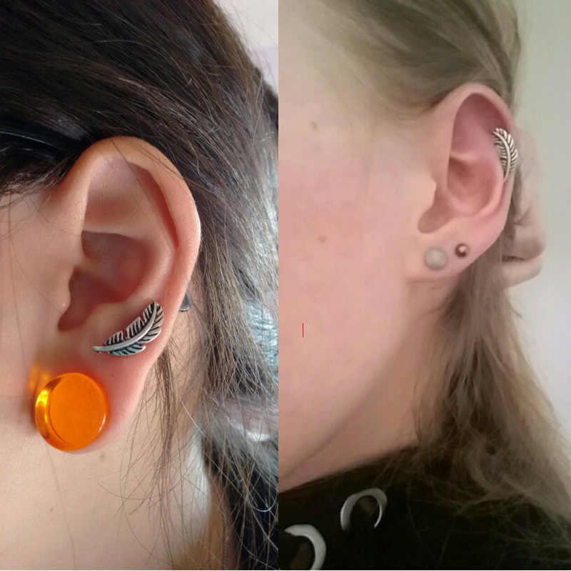 1 Pair 1.2*6mm Feather Ear Cartilage Piercing Tragus Helix Studs Piercing Body Jewelry Stianless Steel Earrings Jewelry Men