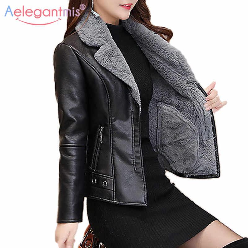 Aelegantmis Autumn Winter Warm Faux Fur Coat Women Leather Jacket Ladies Slim Moto Biker Basic Jackets Plush Casual Outerwear