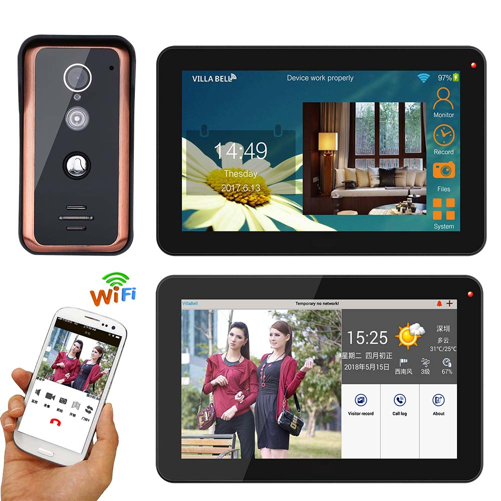 9 Inch 2 Monitors Wired Wifi Video Door Phone Doorbell Intercom Entry System With 1000TVL Wired IR-CUT Camera
