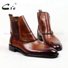 Cie yuvarlak düz toe100 % hakiki buzağı deri çizme patina kahverengi el yapımı taban deri erkek çizme rahat erkek bileğe kadar bot a94