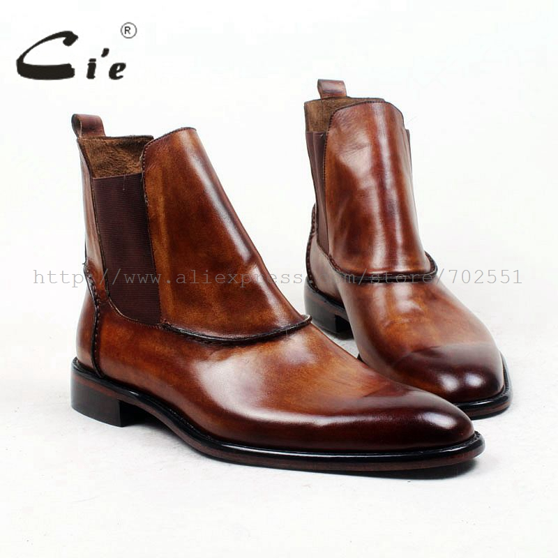 cie round plain toe100%genuine calf leather boot patina brown handmade outsole leather men boot casual men's ankle boot  A94