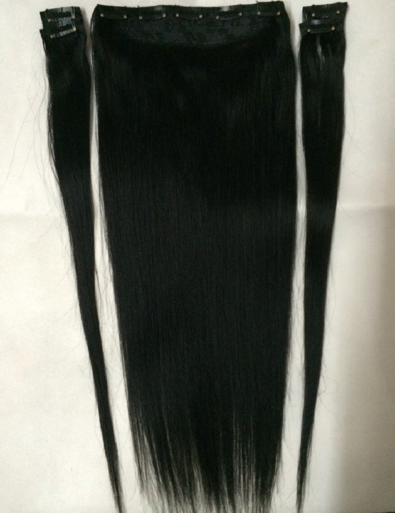 "22 colors 16""-28"" 100% Brazilian Bemy Human Hair Clips In/on Hair Extensions #1 Jet Black 5pcs Set 100g 120g 140g 160g"