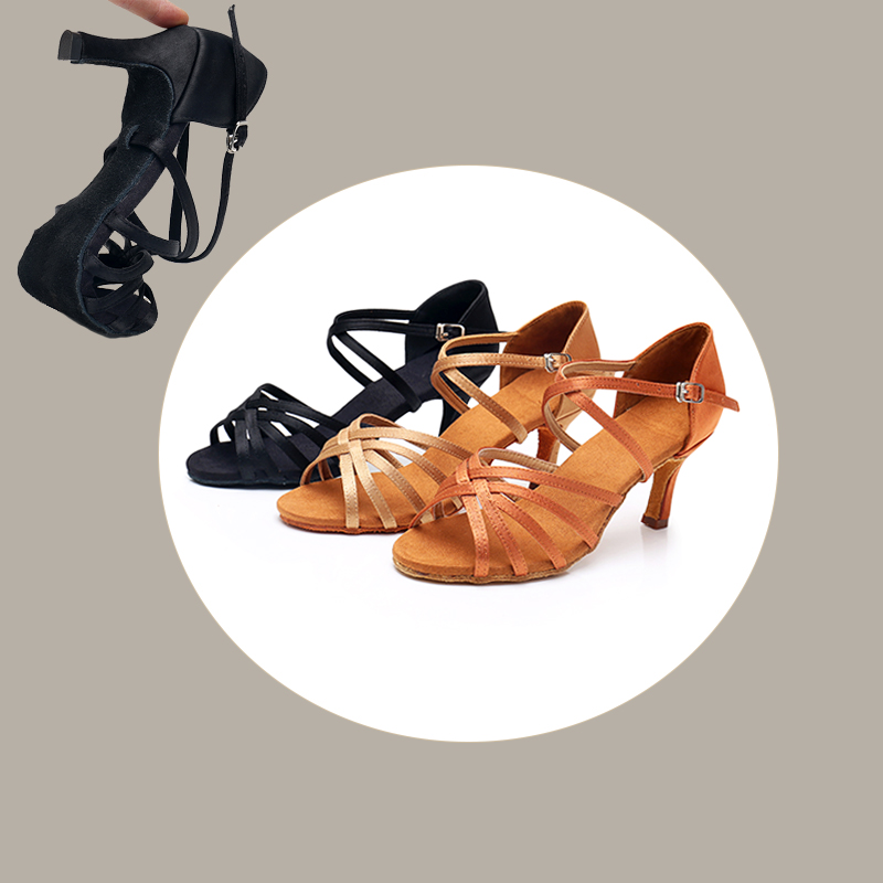Alharbi Dance Shoes Satin/PU  Ballroom Latin Dancing Shoes For  Women/Ladies/Tango&Salsa Shoes 5cm/7cm Heels Women Summer Shoes