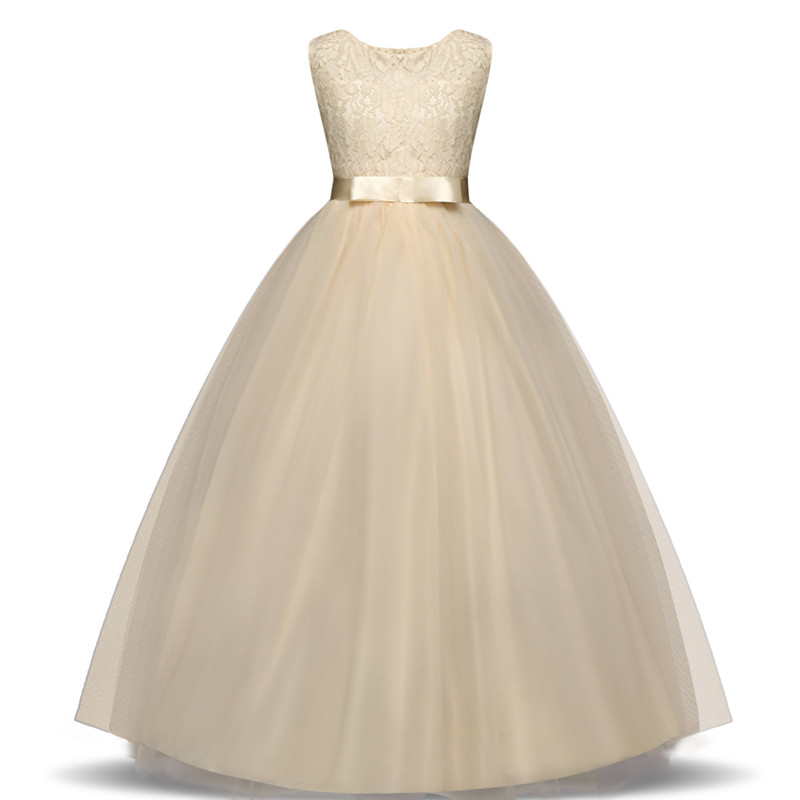 2018 New Kids Girls Wedding Flower Girl Dress Princess Party Pageant Formal Dress Sleeveless Dress 14 Year Wear vestido infantil