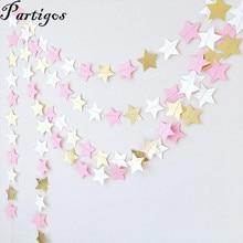22 unids/lote 2M Rosa negro blanco estrella con glitter dorado guirnalda de papel Banner cumpleaños/materiales de decoración para boda