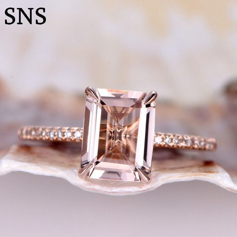6*8mm Natural Pink Color Morganite Engagement Halo Ring 4-Prongs Setting Solirate With Melee Size Moissanite 14K Rose Gold Lady