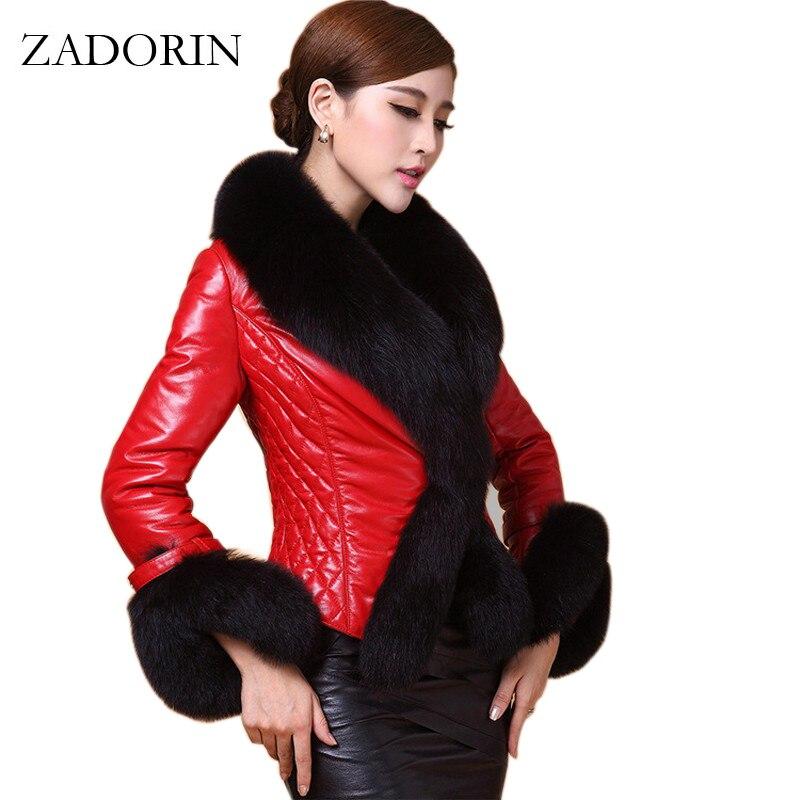 2019 Autumn Winter Women Faux Leather Jacket With Fur Collar Luxury Faux Fur Coats Jackets Short