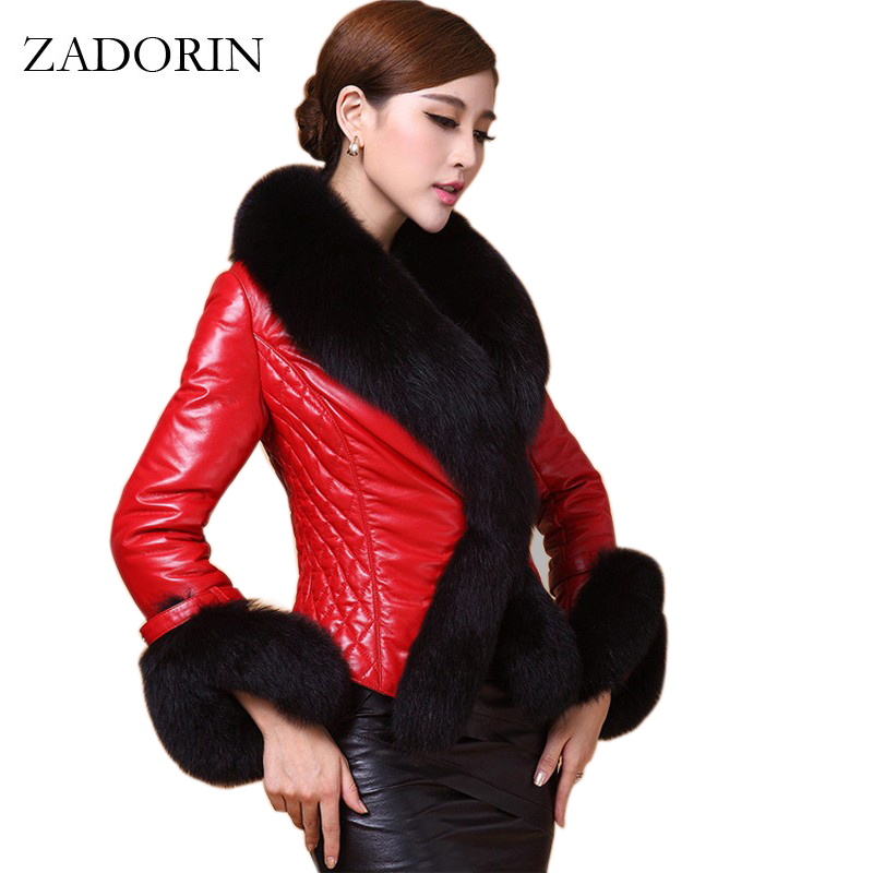 2019 Autumn Winter Women Faux   Leather   Jacket With Fur Collar Luxury Faux Fur Coats Jackets Short Embroidery Black   Leather   jacket