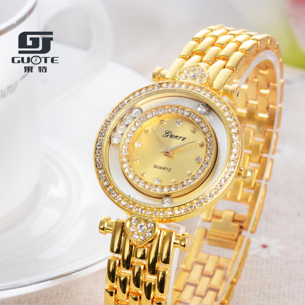 Ladies Watch GUOTE Brand Casual Quartz Watch Gold Stainless Steel Crystal Women Watches Elegant Dress Clock Relogio Feminino Hot guote hot gold full stainless steel wristwatch fashion casual quartz watches men luxury brand women dress watch relogio male