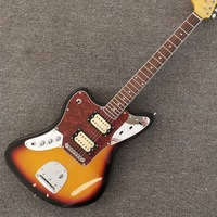 New,6 Strings Fen Electric Guitar,Lefthand jaguar relic model,Sunset Color Top with Black Circle,Free Shpping