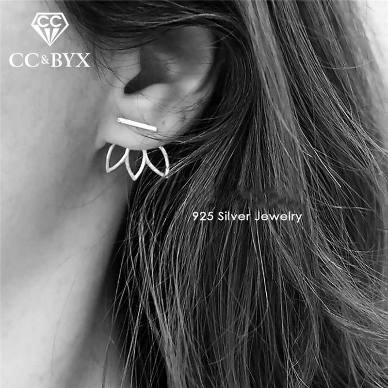 CC Solid Silver 925 Earring For Women Office Lotus Simple Design Personality Ear Studs Fashion Jewelry Brincos CCE513