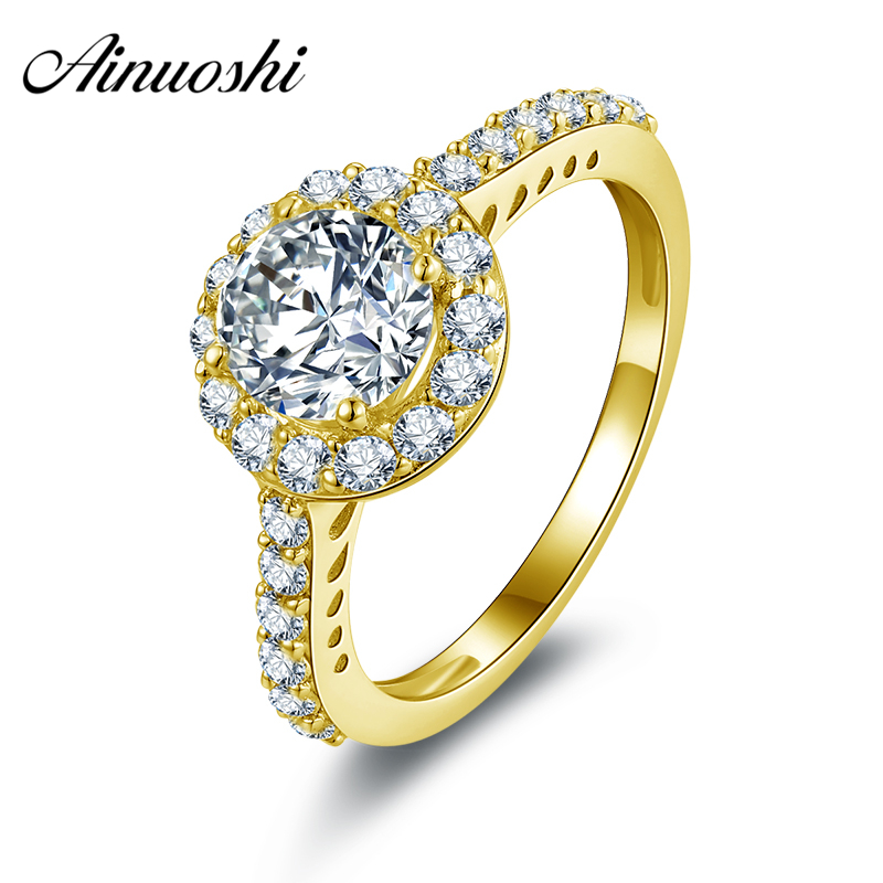 AINUOSHI 10K Solid Yellow Gold Wedding Ring Simulated Diamond Joyas de oro 10k Customized Design Women Engagement Halo RingsAINUOSHI 10K Solid Yellow Gold Wedding Ring Simulated Diamond Joyas de oro 10k Customized Design Women Engagement Halo Rings