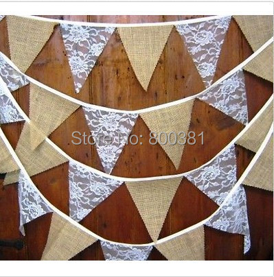Rustic Hessian Wedding Party Supplies Home Decoration Jute Burlap Flag Banners Lace Bunting Sign