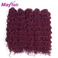 MAYFAIR 18'' 5pcs Faux Locs Curly Crochet Braiding Hair Synthetic High Temperature Fiber Braiding Hair Extensions 24roots/Pack
