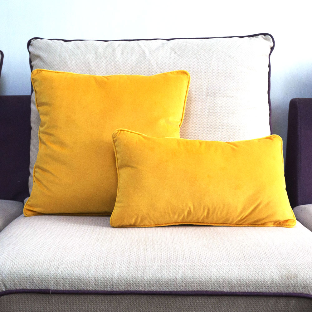 Piping Design Bright Yellow Velvet Cushion Cover Lovely Quality Pillow Cover Case No Balling-up Waist Pillow Without Stuffing Table & Sofa Linens Home Textile
