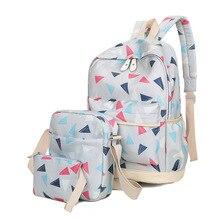 Комплект из 3 предметов Геометрия Треугольники печати Школьные сумки для подростков Обувь для девочек модные женские туфли рюкзак милый студент Дорожные сумки XM07