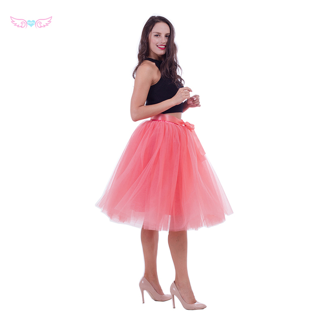 df29f545c4 Skirts girls 7 Layers Midi Tulle Skirt American Apparel Tutu Skirts Women  Ball Gown Party Petticoat 2017 Lolita Faldas Saia