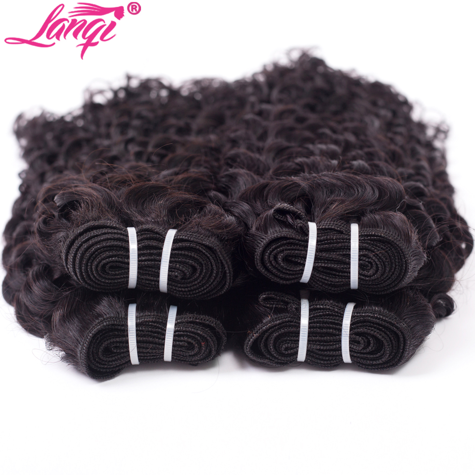 Image 5 - lanqi Peruvian hair bundles with closure nonremy human hair weave bundles with closure Brazilian water wave bundles with closure-in 3/4 Bundles with Closure from Hair Extensions & Wigs