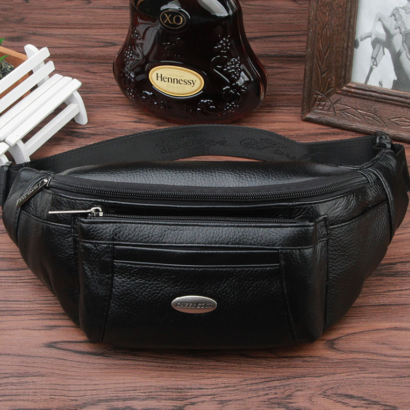 Men Fanny Waist Bag Genuine Leather Fashion Travel motion Hip Belt Cell Phone Case Purse Single Messenger Back Pack Chest Pack ...