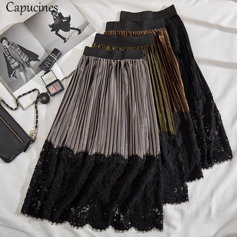 Capucines Ladies Autumn Winter Fashion Lace Stitching Pleated Velvet Skirts Women Vintage Elastic Waist Midi Maxi Skirt