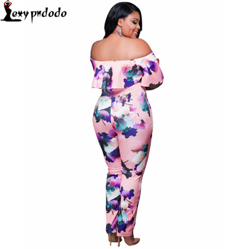 2016 Autumn Fashion Off Shoulder Print Plus Size Rompers Womens Jumpsuit Outfits Sexy Bodycon Jumpsuits combinaison femme yeezy