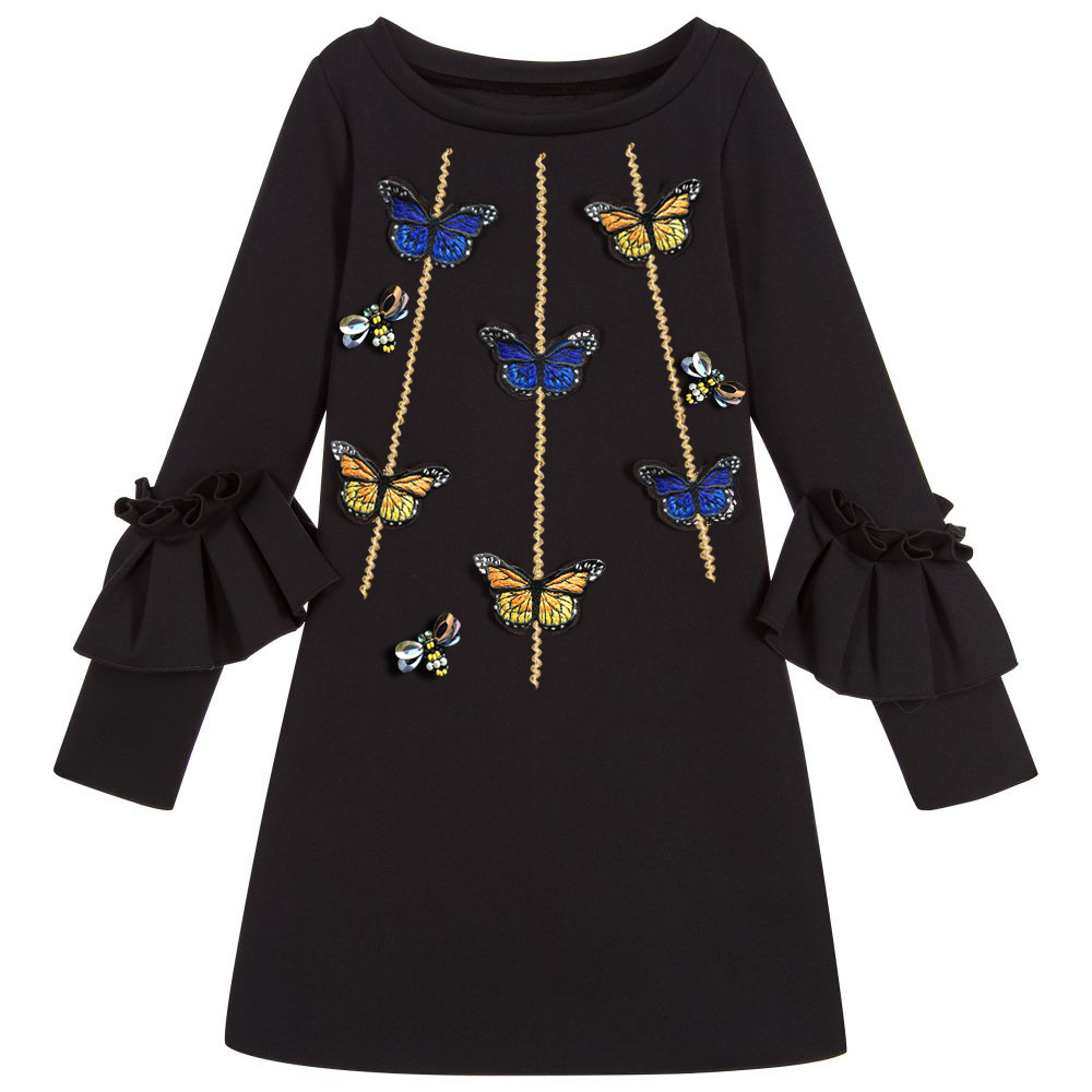 Embroidery Butterfly Kid Christmas Princess Casual Party   flower     girl     dresses   Children kids clothes Baby   Girl   black   Dress   costume