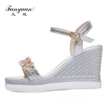 2a913c0f7a3b Fanyuan Elegant Party Shoes Women s Fetish High Heels Shiny Crystal Ladies Wedge  Sandals Ankle Strap Female s