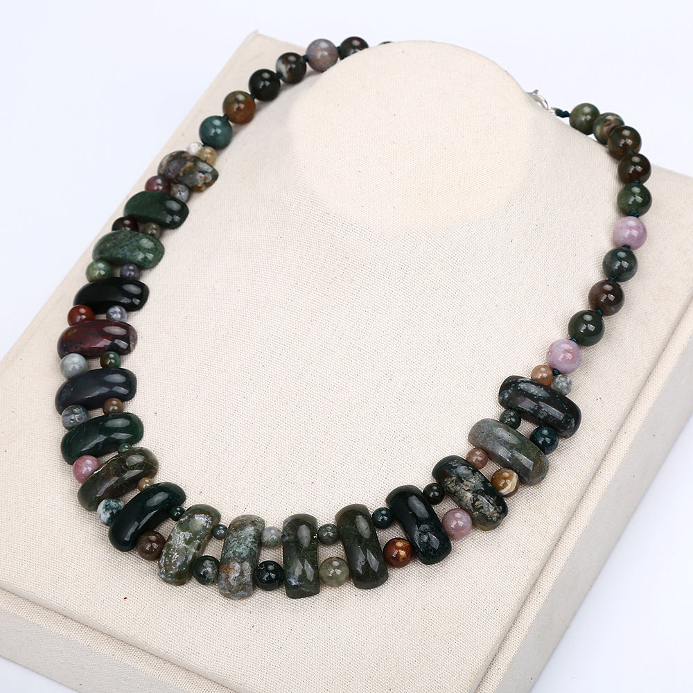 Agate Epidote Necklace Women Man Crystal Fashion Beads Beautiful Handmade Jewelry Bts Best Friend Coin Necklace For Women Gift chic multilayered coin geometric necklace for women