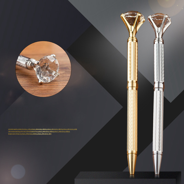 US $2 78 7% OFF|Noble High quality Crystal Diamond Ballpoint pen New Style  Fashion Fountain Ball pen Work School Signature Write Stationery Pen-in