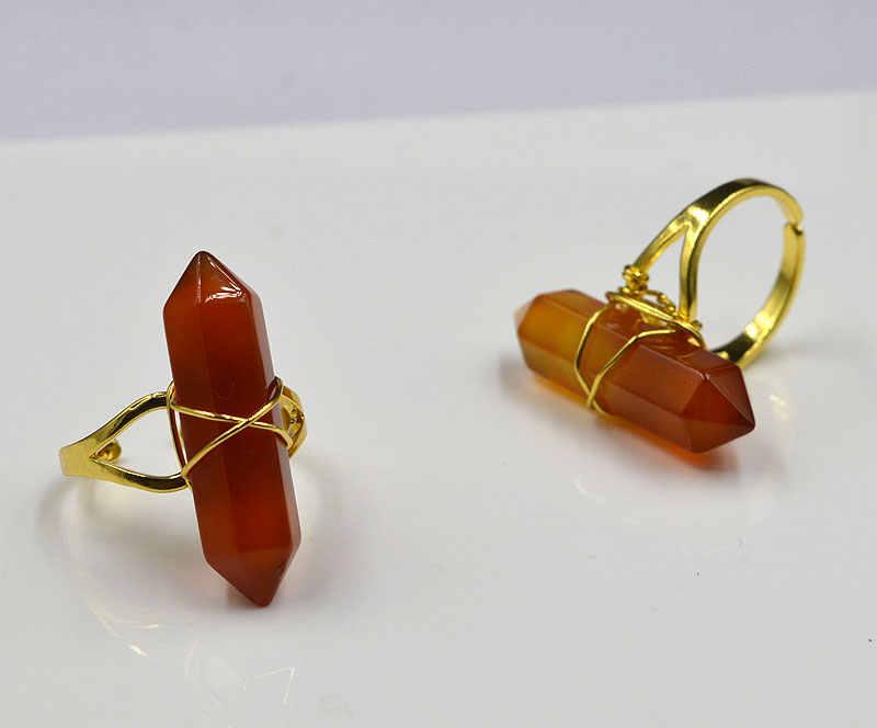YA1921 karneol czerwony kamień punkt złoty drut owinięty pierścień regulowany 32x8mm
